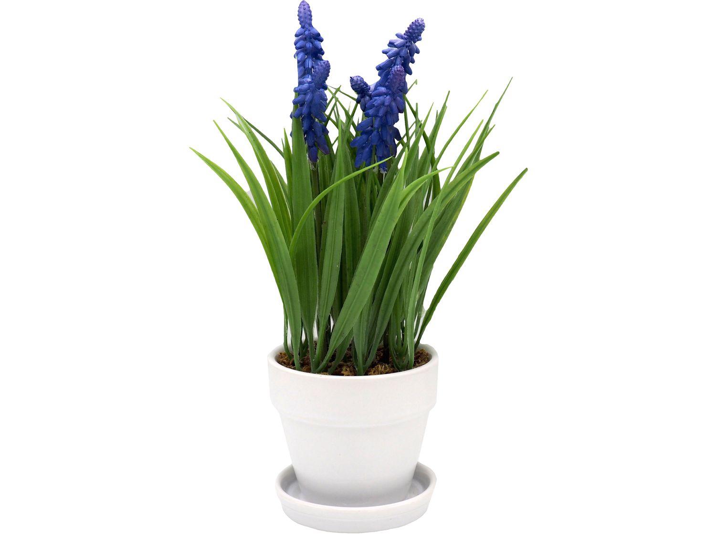 Kunstblume Traubenhyazinthe Muscari Blau Weiß Garten Deko Frühling Ostern
