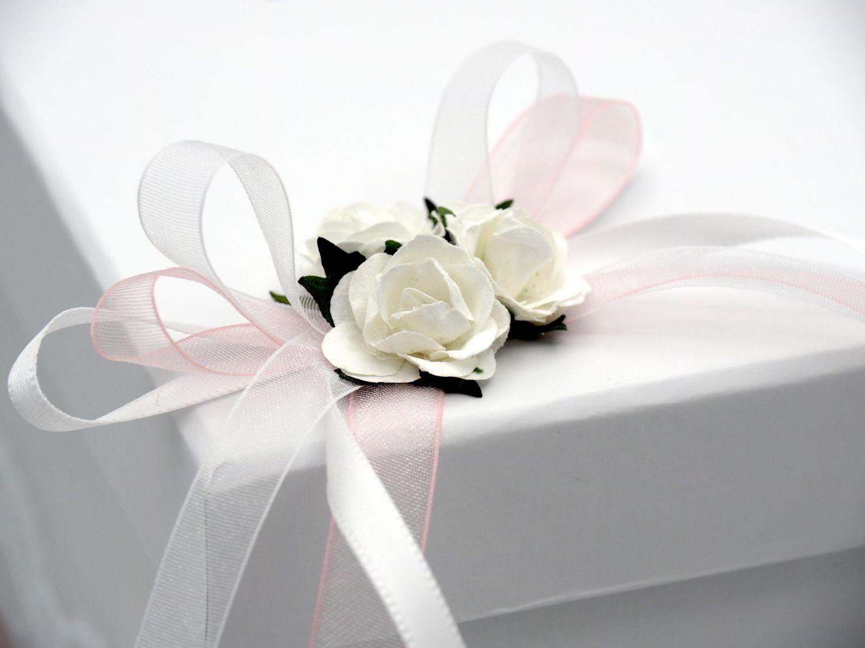 Briefbox Tischdeko Vintage Hochzeit Rosa Weiß Spitze Geldgeschenke MARINA Kartenbox