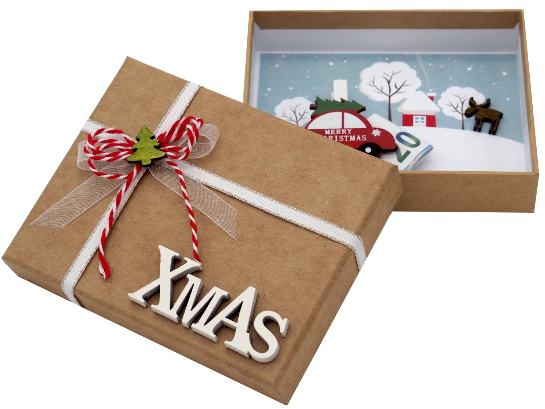 Geldgeschenk Verpackung Weihnachten Auto XMAS Natur Geschenk Gutschein