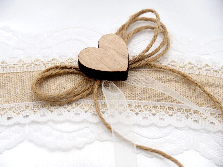 Ringkissen ANNA Vintage Weiß Spitze Hochzeit Herz Braut Traukissen