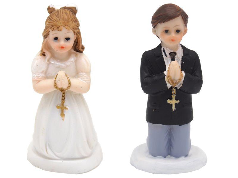 Tortenfigur Tortendeko Kommunion Mädchen und Junge Tischdeko Konfirmation