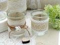 2x Teelichtglas Glas Hochzeit Vintage Tischdeko Natur Deko 2