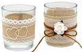 2x Teelichtglas Vintage Hochzeit Creme Tischdeko Deko 001
