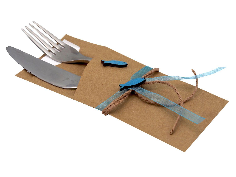 Serviettentasche ISAAK Natur Fisch Petrol Blau Kommunion Konfirmation Bestecktasche Vintage Tischdeko