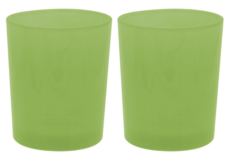2 Teelichthalter Teelichtgläser Grün Tischdeko Kommunion Konfirmation Deko