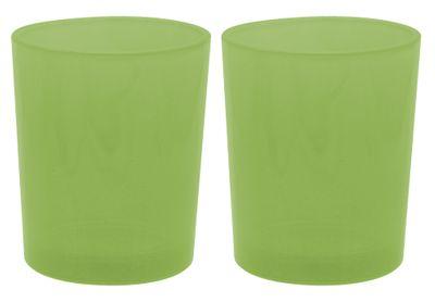 2 Teelichthalter Teelichtgläser Grün Tischdeko Kommunion Konfirmation