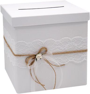 Briefbox MIRA Hochzeit Vintage Spitze Natur Kartenbox Geldgeschenkbox Weiß