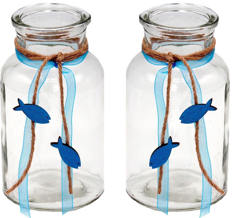 2 Vasen Kommunion Konfirmation Tischdekoration Petrol Fisch Natur Vintage ISAAK