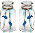 2 Vasen Kommunion Konfirmation Tischdekoration Petrol Fisch Natur Vintage ISAAK 1