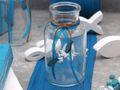 2 Vasen Kommunion Konfirmation Tischdekoration Petrol Fisch Natur Vintage ISAAK 2