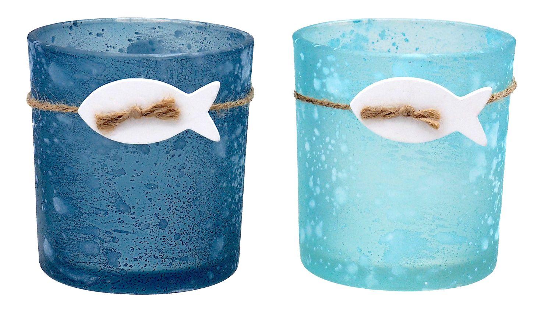 Kerzenglas Teelichtglas Perol Blau Mint Fisch Tischdeko Kommunion Konfirmation Deko Maritim 2 Stück