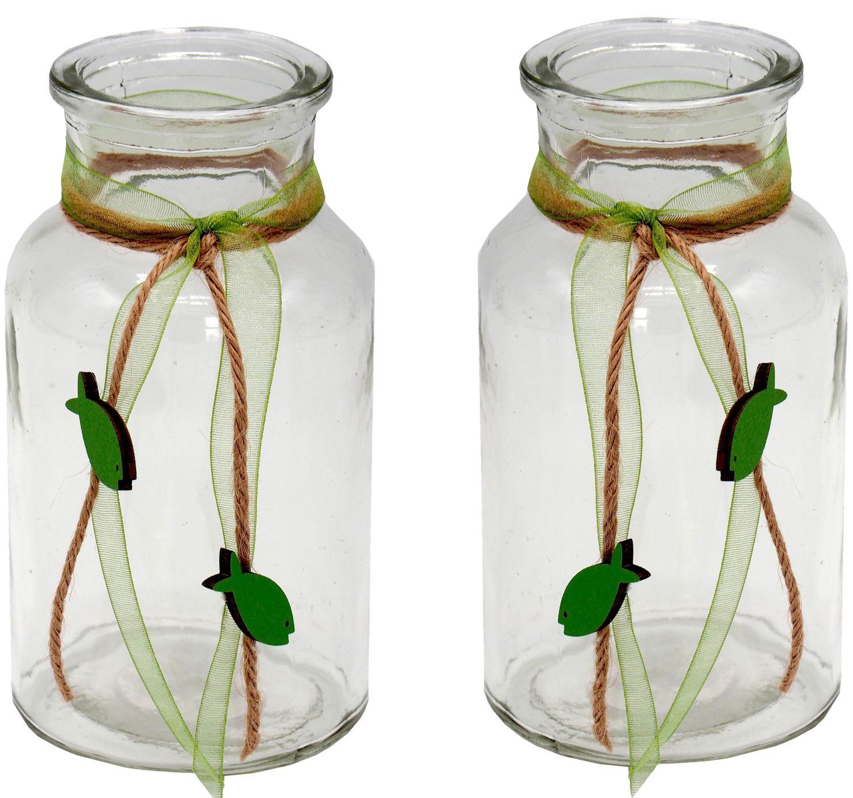 2 Vasen Kommunion Konfirmation Tischdekoration Grün Fisch Natur Vintage JONAS