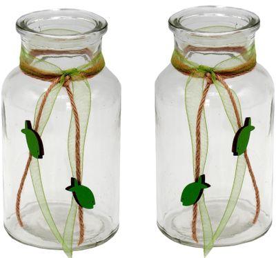 2 Vasen Kommunion Konfirmation Grün Fisch Vintage JONAS