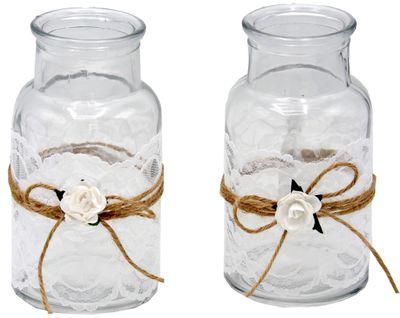 2 Vasen Hochzeit Vintage Tischdeko Spitze Weiß MIRA