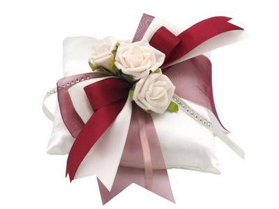 Ringkissen Creme Bordeaux Rosen Hochzeit