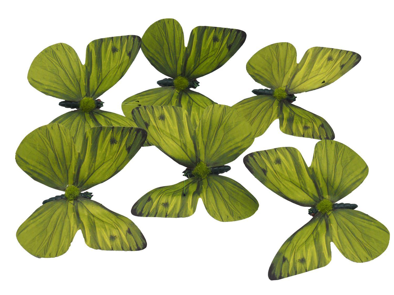 6 Schmetterlinge Grün mit Draht