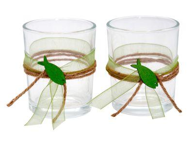 2x Teelichtglas Kommunion Konfirmation Grün Fisch JONAS
