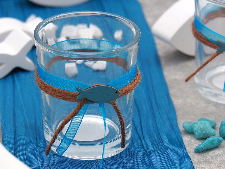 2x Teelichtglas Kommunion Konfirmation Tischdeko Petrol Fisch Vintage ISAAK