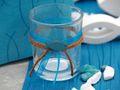 2x Teelichtglas Kommunion Konfirmation Tischdeko Petrol Fisch Vintage ISAAK 3