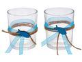 2x Teelichtglas Kommunion Konfirmation Tischdeko Petrol Fisch Vintage ISAAK 001