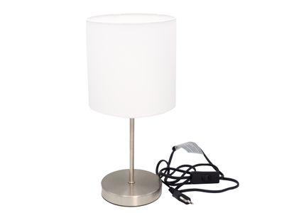 Tischlampe Lampe Nachttischlampe Metallfuß Weiß