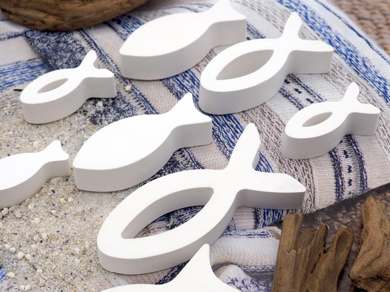 8x Deko Fisch Figur Tischaufsteller Aufsteller Tischdeko Weiß Kommunion Konfirmation Taufe