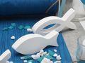 8x Deko Fisch Figur Tischaufsteller Aufsteller Tischdeko Weiß Kommunion Konfirmation Taufe 8