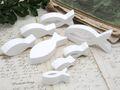 8x Deko Fisch Figur Tischaufsteller Aufsteller Tischdeko Weiß Kommunion Konfirmation Taufe 4