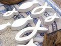 8x Deko Fisch Figur Tischaufsteller Aufsteller Tischdeko Weiß Kommunion Konfirmation Taufe 6