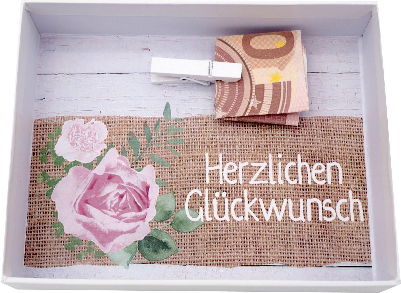 Geldgeschenk Verpackung Weiß Rosa Vintage Hochzeit Hochzeitsreise Geburtstag MARINA