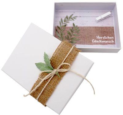 Geldgeschenk Verpackung Vintage Jute Blatt Hochzeit Geburtstag