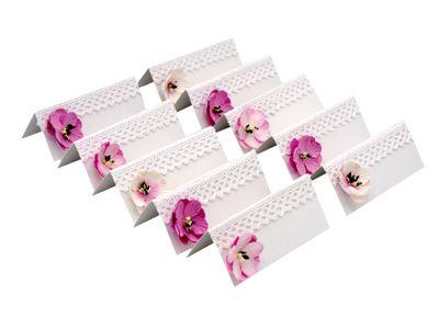 10 Namenskarten INGA Tischkarten Spitze Rosa Blumen Hochzeit