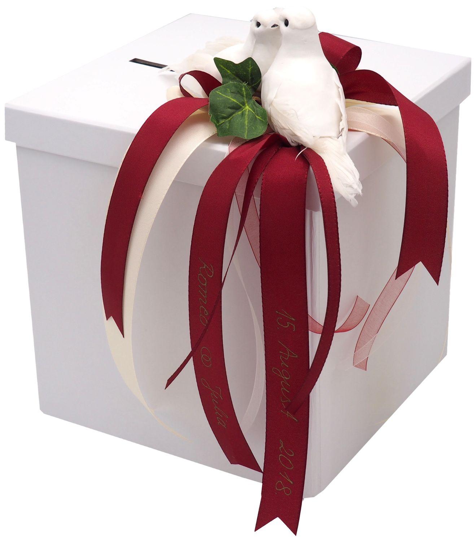 Briefbox Kartenbox MIT NAMEN Creme Hochzeit Tauben Beschriftet Geldbox