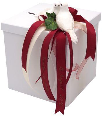 Briefbox Kartenbox Beschriftet Bordeaux Creme Hochzeit Tauben
