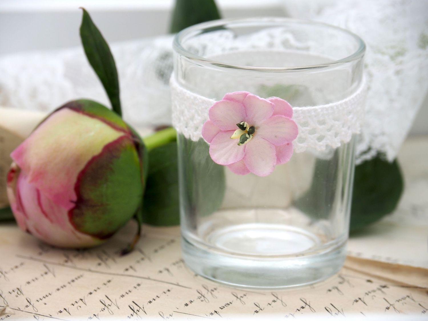 Teelichtglas Glas Rosa Pink Spitze Hochzeit Vintage Tischdeko Deko