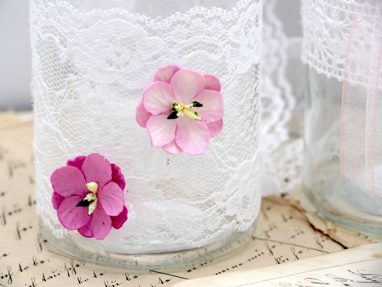 2 Vasen Gläser Spitze Rosa Romantisch Hochzeit Vintage Tischdeko Deko INGA
