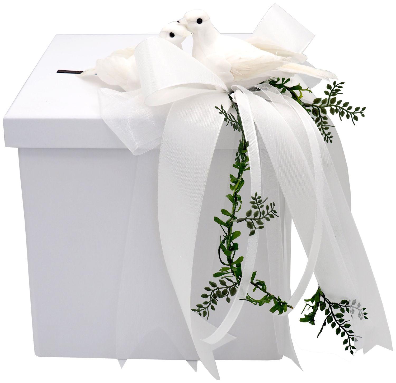 Briefbox Kartenbox Weiß Hochzeit Tauben Geldbox