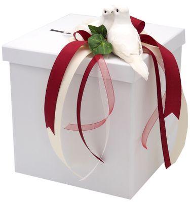Briefbox Kartenbox Bordeaux Creme Hochzeit Tauben Geldbox