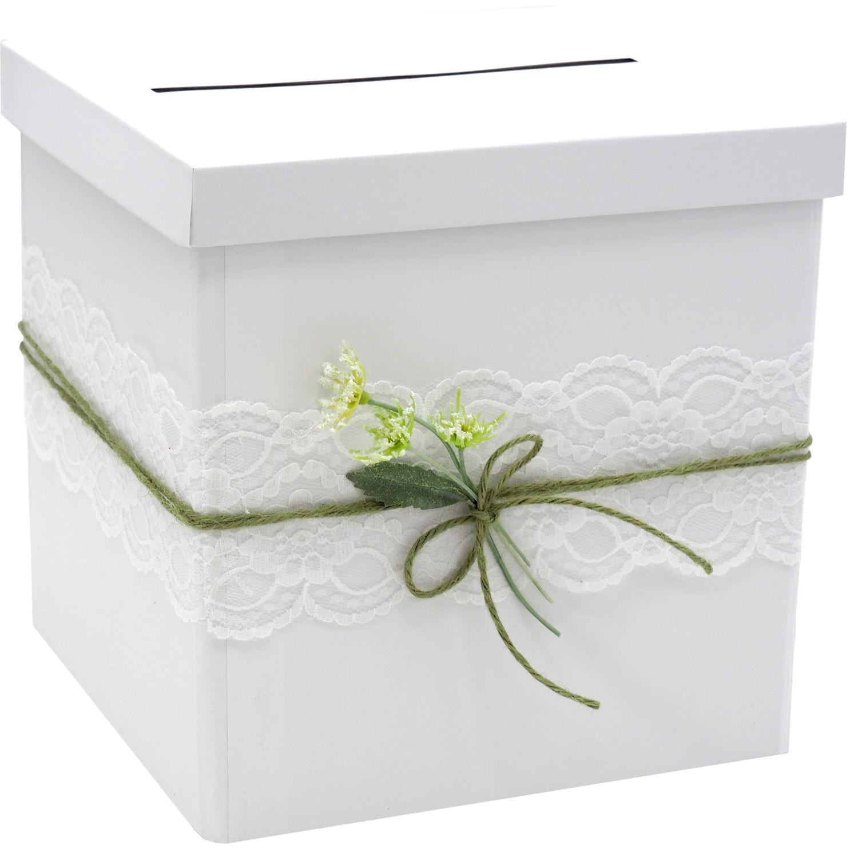Briefbox JENNY Hochzeit Vintage Kartenbox Geldgeschenk Weiß Grün Spitze