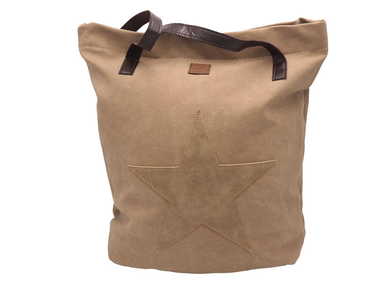 Tasche Shopper Shopping Lederoptik Stern Beige Latte Macciato