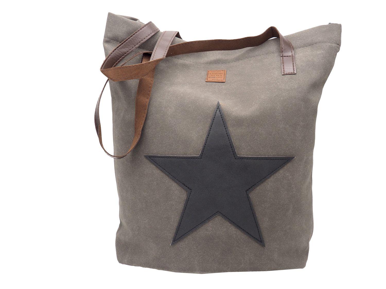 Tasche Shopper Shopping Lederoptik Stern Grau