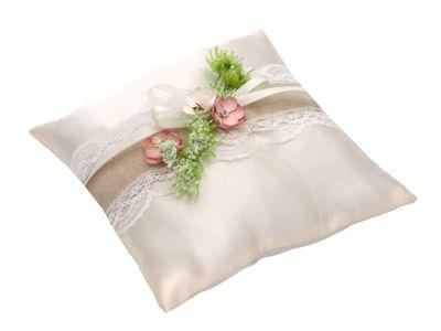 Ringkissen Creme Rosa Hochzeit Spitze Vintage Blumen Traukissen Ringe