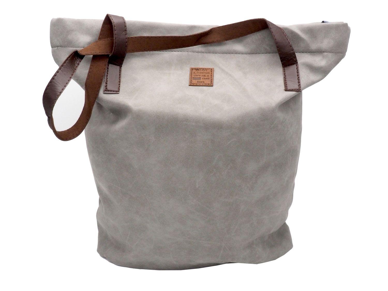 Tasche Shopper Lederoptik Handtasche Shoppingtasche Damentasche Grau