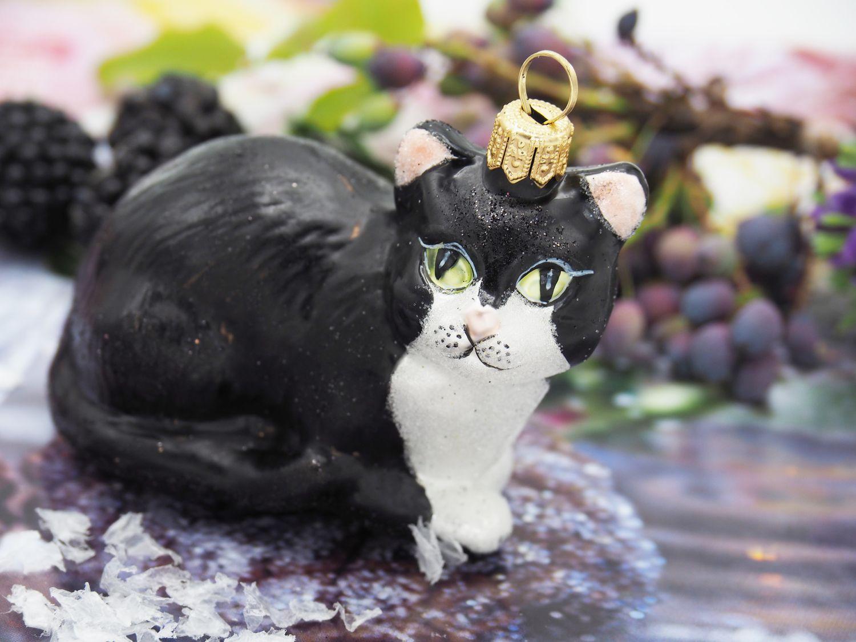 Katze Liegend Schwarz Weiß Christbaumschmuck Weihnachten Glas Weihnachtsbaumschmuck