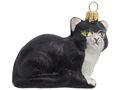 Katze Liegend Schwarz Weiß Christbaumschmuck Weihnachten Glas Weihnachtsbaumschmuck 1