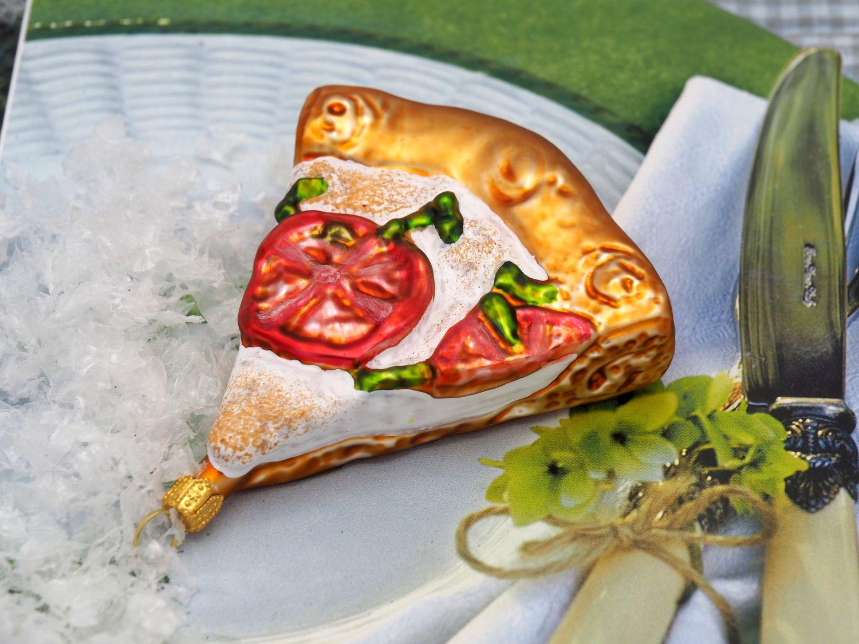 2x Pizza Margherita Christbaumschmuck Glas Weihnachtsbaumschmuck Italien