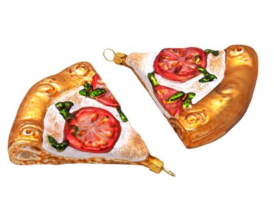 2x Pizza Margherita Christbaumschmuck Glas