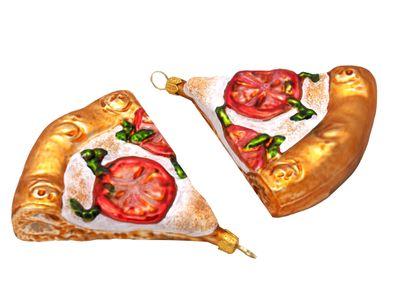2x Pizza Margherita Christbaumschmuck Glas