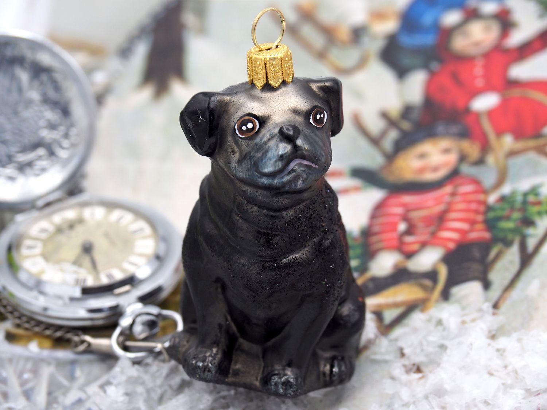 Mops Hund Schwarz Christbaumschmuck Weihnachten Glas Weihnachtsbaumschmuck
