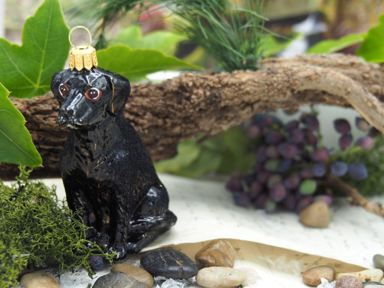 Labrador Hund Schwarz Christbaumschmuck Weihnachten Glas Weihnachtsbaumschmuck